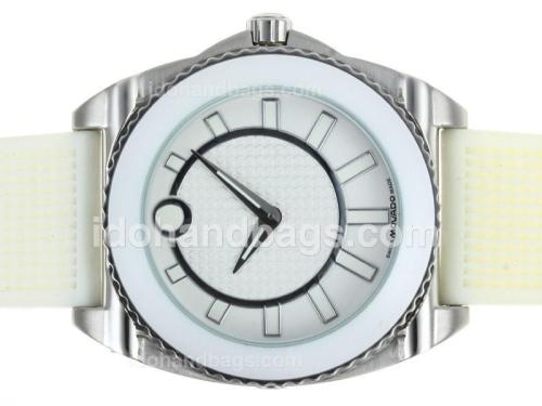 Movado Master with White Dial and Bezel-Rubber Strap 43544