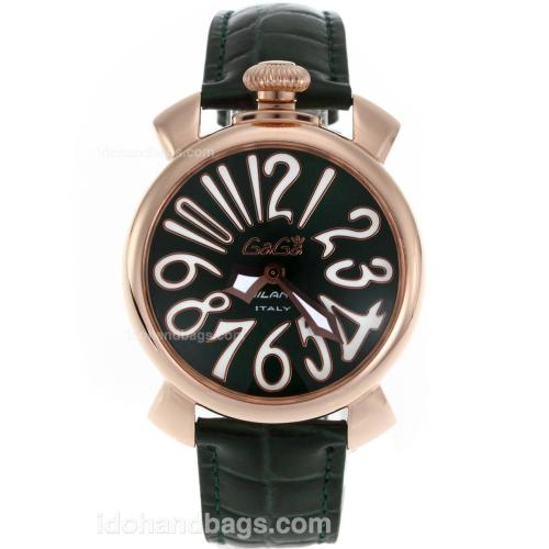 Gaga Milano Slim 40mm Rose Gold Case with Green Dial White Markers-Leather Strap 119032