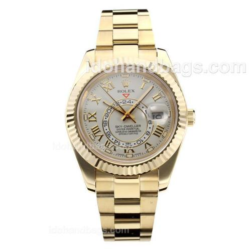 Rolex Sky Dweller Automatic Full Yellow Gold Case with White Dial-Sapphire Glass 182538