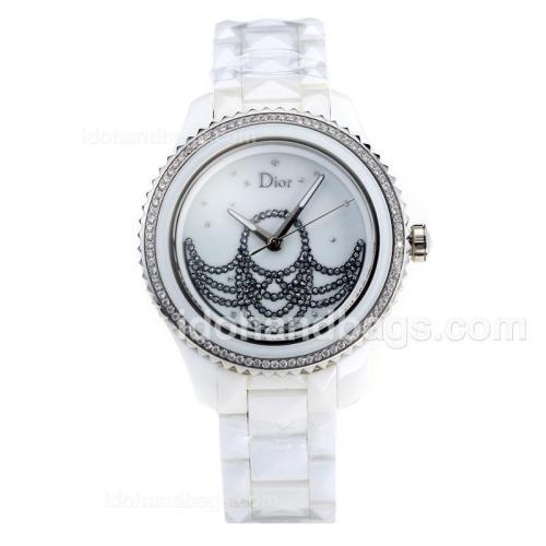 Dior VIII Full Ceramic Diamond Bezel with White Dial 180892