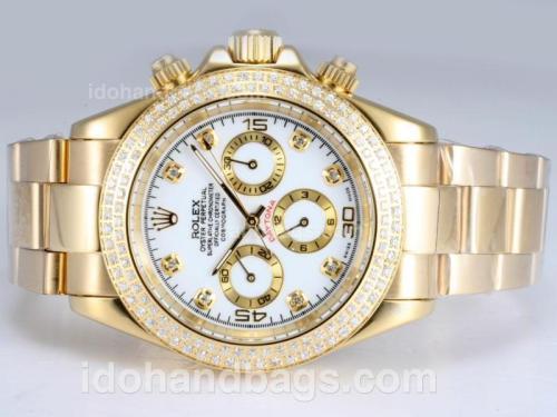 Rolex Daytona Automatic 18K Full Gold Plated with Diamond Bezel-White Dial 14525