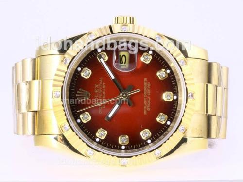 Rolex Datejust Automatic Full Gold Diamond Marking with Red Dial 23384