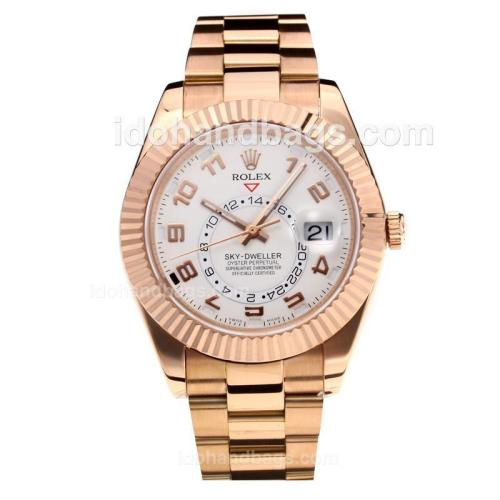 Rolex Sky Dweller Automatic Full Rose Gold with White Dial-Number Markers-Same Chassis as the Swiss Version 195270