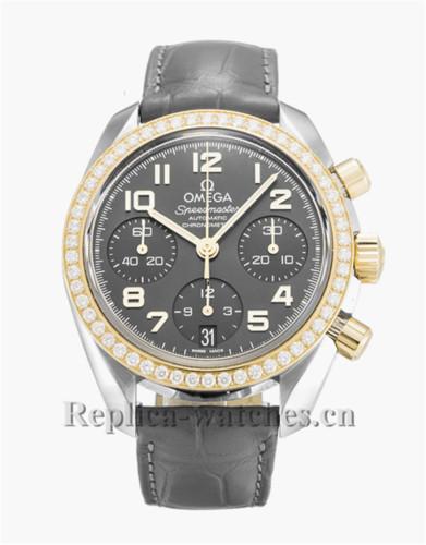 Omega Speedmaster Automatic Chronometer Blakc Leather Strap 38MM 324.28.38.40.06