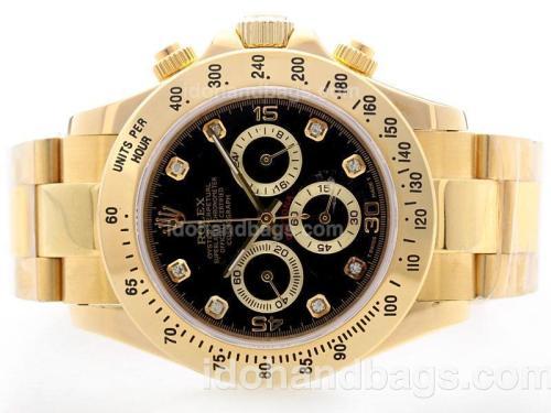 Rolex Daytona Working Chrono Full Yellow Gold Black Dial with Diamond Marking 34822