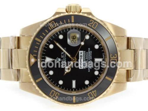 Rolex Submariner Comex Edition Automatic Full Gold with Black Dial-Ceramic Bezel 41105
