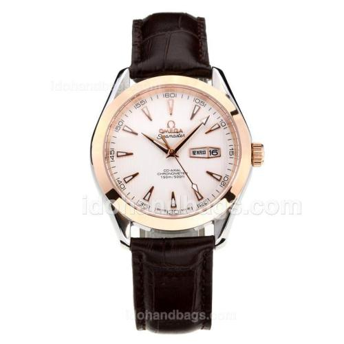 Omega Seamaster Rose Gold Case with White Dial-Leather Strap-Sapphire Glass 181674