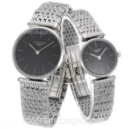 Longines La Grande Classique Swiss ETA Movement with Black Dial S/S-Couple Watch 68208