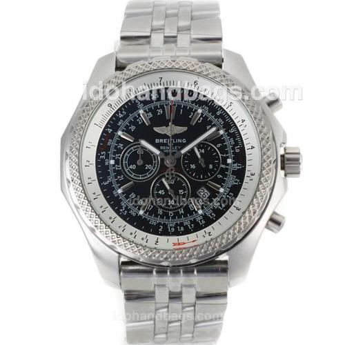 Breitling For Bentley Motors Working Chronograph with Black Dial-S/S 97760