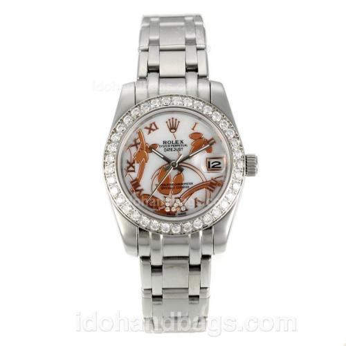 Rolex Masterpiece Automatic Diamond Bezel with White MOP Dial S/S-Flowers Illustration-Medium Size 125520