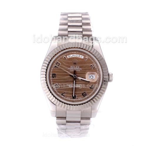 Rolex Day-Date II Automatic Number Marking with Brown Wave Dial-41mm New Version 25385