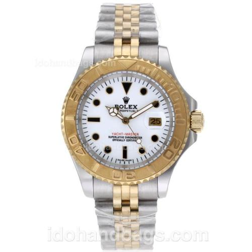 Rolex Yacht-Master Automatic Two Tone Black Markers with White Dial 61762