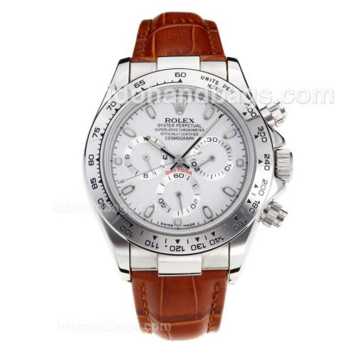 Rolex Daytona Super Luminous Chronograph Swiss Valjoux 7750 Movement with White Dial-Leather Strap-Sapphire Glass 187118