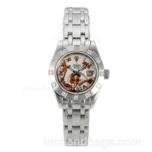 Rolex Masterpiece Automatic Diamond Bezel with MOP Dial S/S-Flowers Illustration 125516