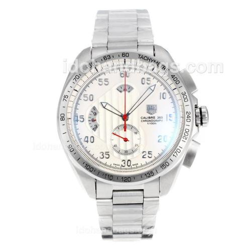 Tag Heuer Carrera Calibre 360 Working Chronograph with White Dial S/S 174586