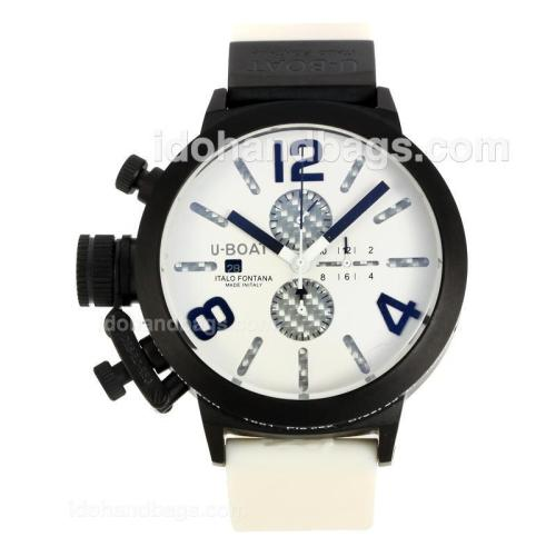 U-Boat Italo Fontana Working Chronograph PVD Case with White Dial-Rubber Strap 149038