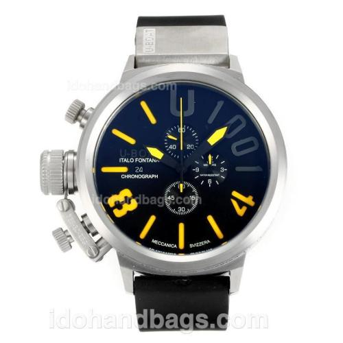 U-Boat Italo Fontana Working Chronograph with Black Dial-Yellow Markers 163202