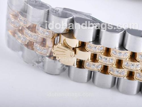 Rolex Day-Date Swiss ETA 2836 Movement Two Tone with Full Diamond-Roman Marking 26058
