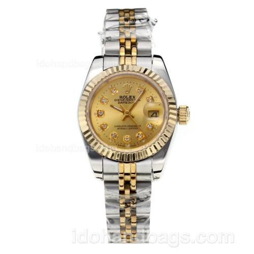 Rolex Datejust Automatic Two Tone Diamond Markers with Golden Dial-Sapphire Glass 187802