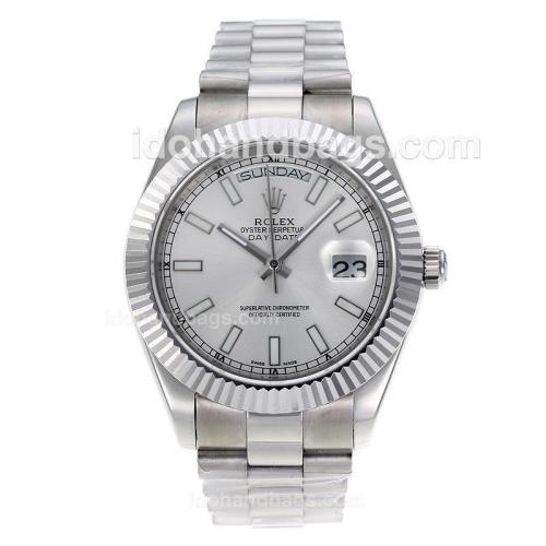 Rolex Day-Date II Swiss ETA 2836 Movement Stick Markers with White Dial S/S 60260