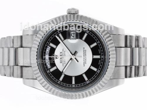 Rolex Day-Date II Automatic Stick Markers with Black/White Dial 45269