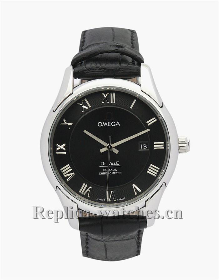 Omega De Ville Hour Vision Black Leather Strap Black Dial 41MM