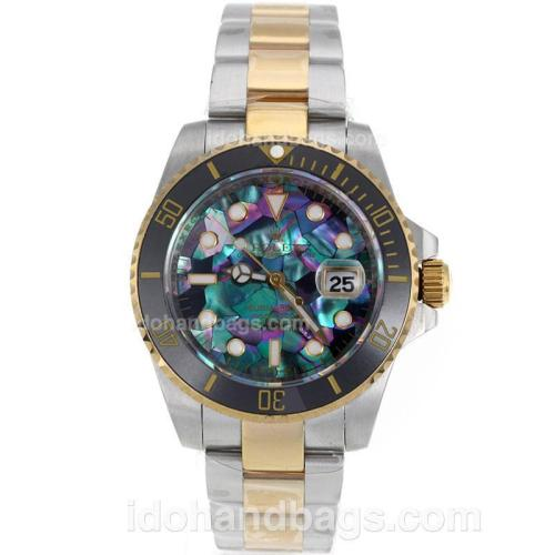 Rolex Submariner Automatic Two Tone Black Ceramic Bezel with Puzzle Style MOP Dial-Sapphire Glass 119222