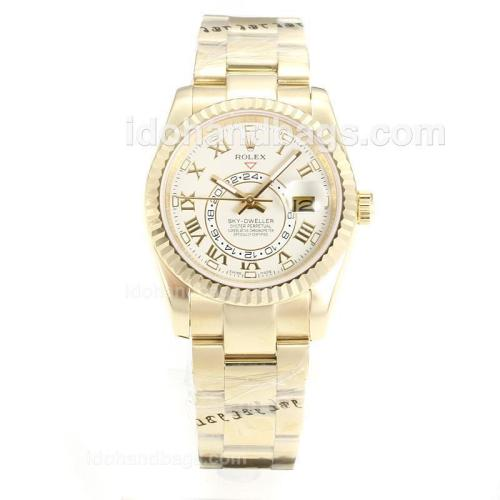 Rolex Sky Dweller Automatic Full Yellow Gold with White Dial-Sapphire Glass 161902