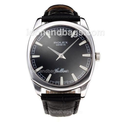 Rolex Cellini Luminous Swiss ETA Movement with Black Dial-Leather Strap-Sapphire Glass 194524