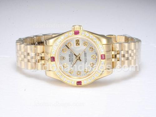 Rolex Datejust Automatic Full Gold Diamond Marking and Bezel with Silver Dial 20670