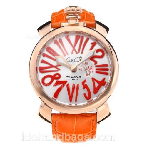 GaGa Milano Rose Gold Case with Silver Dial-Orange Leather Strap 203840