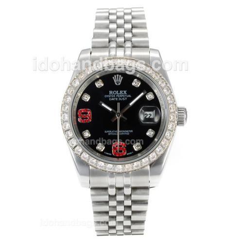 Rolex DateJust II Automatic Diamond Bezel with Black Dial S/S-Diamond Markers 167728