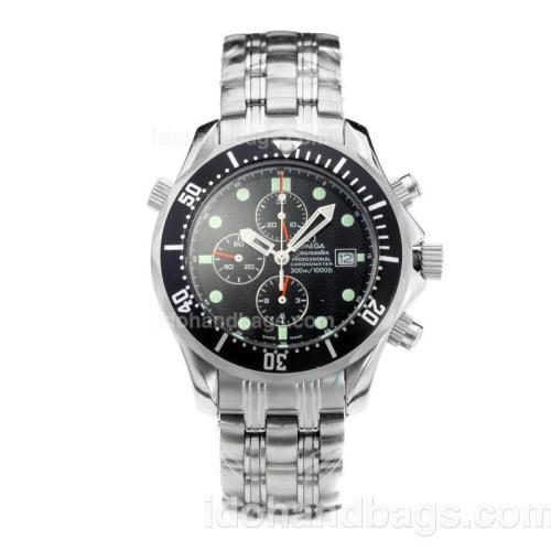 Omega Seamaster Working Chronograph with Black Dial and Bezel S/S 178306