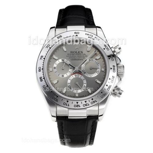 Rolex Daytona Super Luminous Chronograph Swiss Valjoux 7750 Movement with Gray Dial-Leather Strap-Sapphire Glass 187112