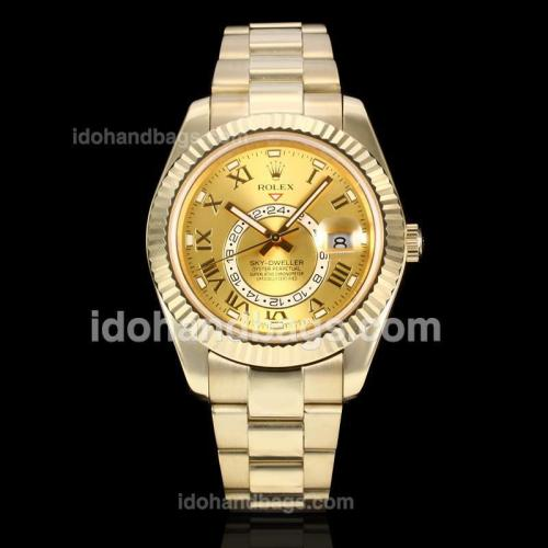 Rolex Sky Dweller Automatic Full Gold with Golden Dial-2012 New Style Oversized Version(Gift Box is Included) 175012