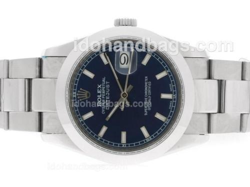 Rolex Datejust Automatic with Blue Dial-White Stick Marking 36625