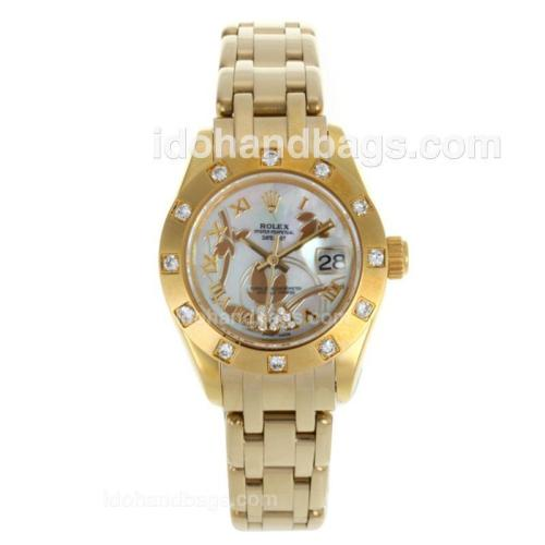 Rolex Masterpiece Swiss ETA 2671 Movement Full Gold Diamond Bezel Roman Markers with White MOP Dial-Flowers Illustration 116230