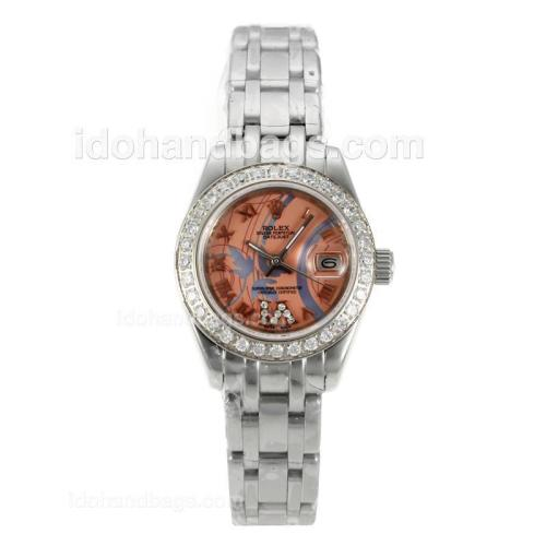 Rolex Masterpiece Automatic Diamond Bezel with Pink Dial S/S-Sapphire Glass 125510