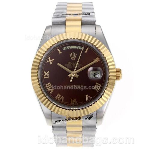 Rolex Day-Date II Swiss ETA 2836 Movement Two Tone Roman Markers with Brown Dial 62531
