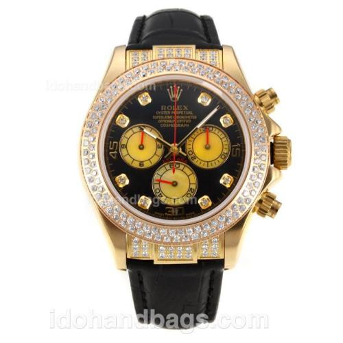 Rolex Daytona Swiss Valjoux 7750 Movement Diamond Yellow Gold Case with Black Dial-Leather Strap-Sapphire Glass 175282