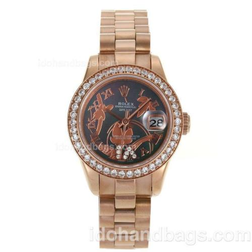 Rolex Datejust Automatic Full Rose Gold Diamond Bezel Roman Markers with Black MOP Dial-Flowers Illustration 116274