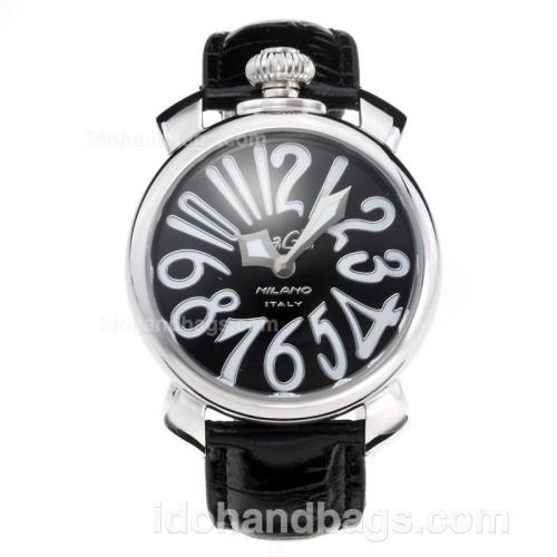 GaGa Milano with Black Dial-Leather Strap 203850