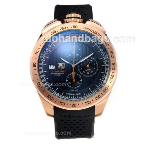 Tag Heuer Grand Carrera 3600 Working Chronograph Rose Gold Case with Black Dial-Rubber Strap 191382