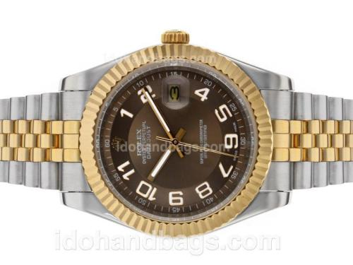 Rolex Datejust II Automatic Two Tone Number Markers with Brown Dial 48537