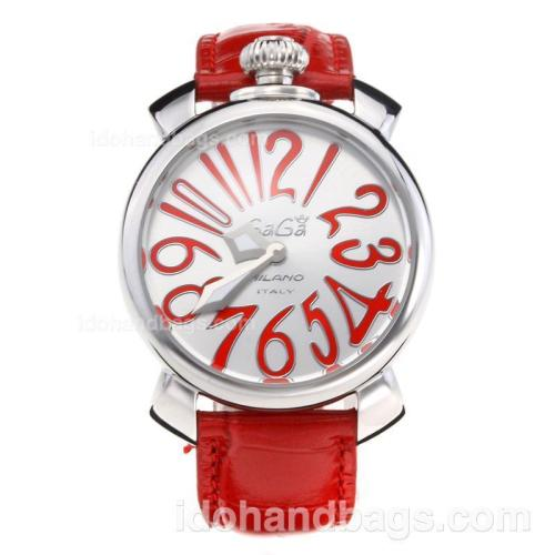 GaGa Milano with Silver Dial-Leather Strap 203830