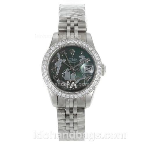 Rolex Datejust Automatic Diamond Bezel Roman Markers with MOP Dial-Flowers Illustration 116256
