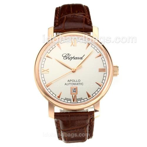 Chopard Apollo Swiss ETA 2824 Automatic Rose Gold Case with White Dial-Leather Strap-Sapphire Glass 194342