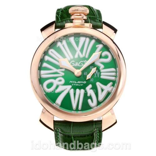 GaGa Milano Rose Gold Case with Green Dial-Leather Strap 203836