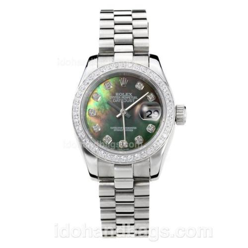 Rolex Datejust Automatic Diamond Bezel with Dark Green MOP Dial S/S-Same Chassis as ETA Version 176384