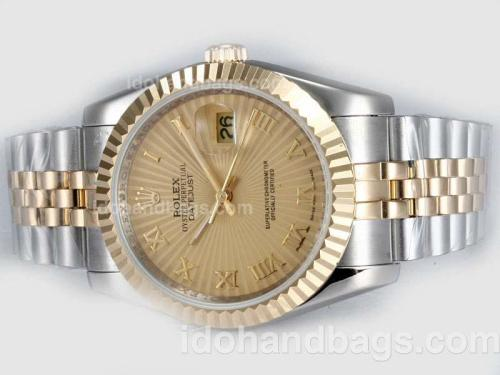 Rolex Datejust Automatic Two Tone with Golden Dial-Roman Marking 20313
